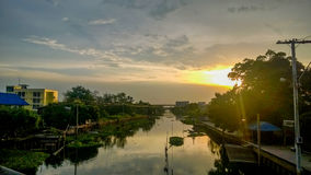 Sky and River Country Landscape. Bangkok royalty free stock image