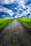 Sky road. The path to success at the finish line with a door on top Stock Images