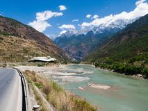 Sky road to tibet. Green river, blue sky, cloud royalty free stock images