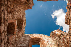Sky from a ruined castle. Without roof Royalty Free Stock Image