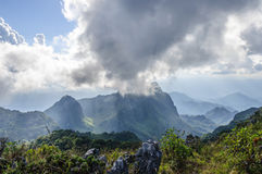 The Sky`s overcast at Doi Luang Chiang Dao mountain, Chiang Mai province, Thailand. Doi Luang Chiang Dao mountain popular travel jungle trekking at Chiang Mai Royalty Free Stock Images