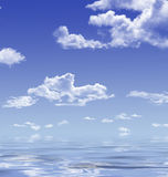 The sky and it's reflection on water surface. The sky with clouds and it's reflection on water surface Stock Photography