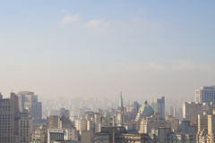 Sky of Sao Paulo. Panoramic view of the city of Sao Paulo and pollution on the horizon Royalty Free Stock Images