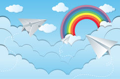 Sky scene with paper airplanes Stock Image