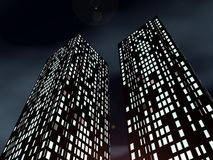 Sky-scrapers. Two modern office sky-scrapers on a background cloudy nightly sky vector illustration