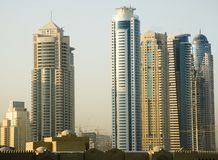 Sky scrapers in Dubai. View of skyscrapers in Dubai Emirate Royalty Free Stock Photography