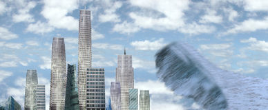 Sky scrapers with tidal wave. A view of a city about to be hit by a tidal wave Stock Images