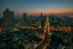 Sky scrapper scene of bangkok thailand capital before the dawn Stock Photos