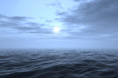 Sky and sea (3d render image). 3d render of a sky with clouds and  wavy sea. Natural colors Royalty Free Stock Image