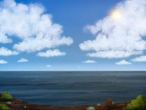 Sky And Sea Digital Painting. Digital painting of a cliffs overlooking an ocean and cloudy sky Stock Image
