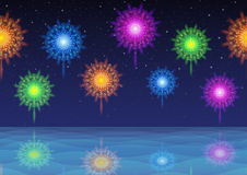 Sky and Sea with Fireworks, Seamless Stock Images