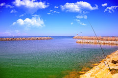 Sky,Sea,Fishing,. Early morning fishing in the sea royalty free stock images