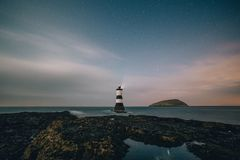 Sky, Sea, Horizon, Lighthouse Stock Image