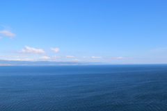 Sky and Sea. Horizon Line. Summer Rest and Travel Landscape Stock Photo