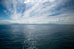 Sky and sea horizon in Lloret de Mar. Spain Royalty Free Stock Photos