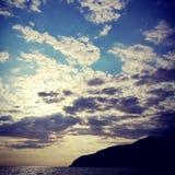 Sky&sea ligurian hav arkivbild