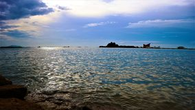 Sky and sea. Rain is coming above sea in Thailand royalty free stock photography
