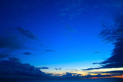 Sky and sea at sunset. Beautiful blue sky over the sea at sunset Royalty Free Stock Photography