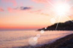 Sky and sea on sunset, blurred image Stock Images