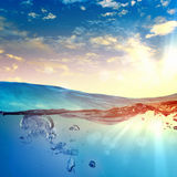 Sea wave with bubbles. Sky and sea water wave with bubbles illustration Royalty Free Stock Photos