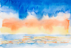 Sky and sea 'watercolor painted Royalty Free Stock Photo