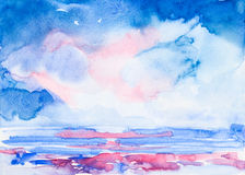 Sky and sea watercolor painted Royalty Free Stock Photography