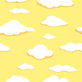 Sky seamless background. Cloud seamless background. Afternoon. Orange clouds. Vector Stock Photos