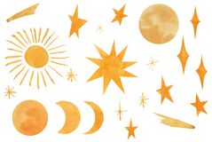 Sky set with yellow stars, moon, sun, comet. Watercolor hand drawn space elements