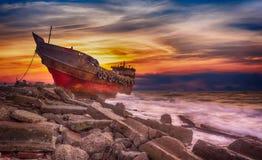 Sky, Shipwreck, Shore, Sunrise royalty free stock photography