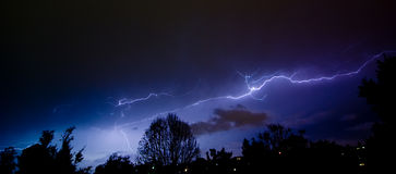 Sky Show Over the Suburbs. Lightning over the Northern Suburbs of Brisbane, Australia Stock Images