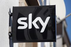Sky sign in haiger germany stock photo