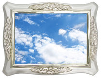 Sky in silver photo frame Royalty Free Stock Image