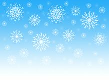 Sky and snowflakes stock illustration