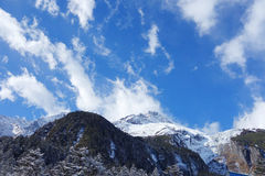 Sky on the snowy mountain Stock Photography