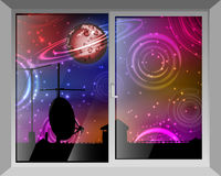 Sky and space. View through the window Stock Photography
