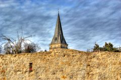 Sky, Spire, Cloud, Tree royalty free stock images