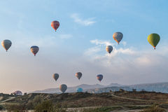 Sky spotted with balloons Royalty Free Stock Image