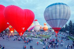 Sky of St. Sergius festival of the hot air balloons. Royalty Free Stock Photos