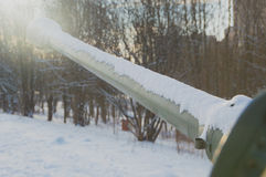 In the sky stared cannon. The gun barrel looks to the Sunny sky Royalty Free Stock Images