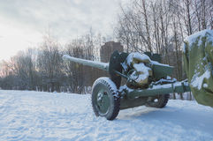 In the sky stared down barrel of artillery. Barrel anti-tank gun looking at the sky Stock Images