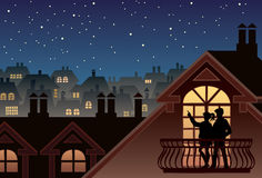 Sky and stars. Two people are looking at sky and stars Royalty Free Stock Photo