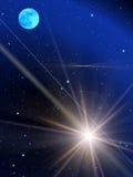 Sky stars comet moon vector illustration
