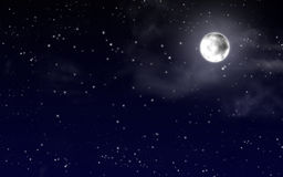 Sky with stars and full moon Stock Photos