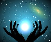 The sky and the stars. Hands silhouette touching the sky and the stars Stock Image