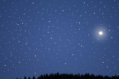 Sky with stars and moon Stock Image