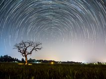 Star trail at the field. Sky and stars royalty free stock image