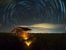 Star trail at the field. Sky and stars royalty free stock photos