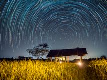 Star trail at the field. Sky and stars stock photo