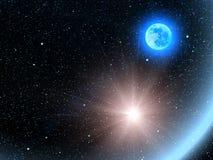 Sky  stars   sun  planets Royalty Free Stock Photo
