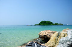 Sky,Stones and Sea. Sea and sky of Nangrum beach,Thailand Stock Image